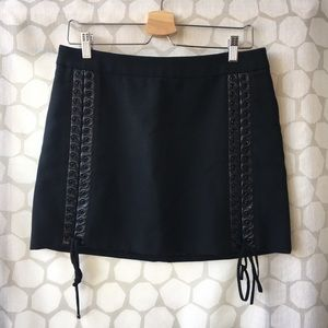 Dolce & Gabbana Lace Up Skirt with Leather Trim